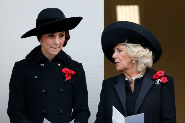 Queen Elizabeth II also wore three poppies for Remembrance Sunday Getty