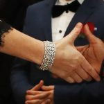 Kate Middleton borrowed the Queens bracelet for the evening Getty