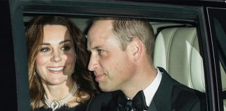 Kate Middleton smiles at Prince William in the back of the car Photo (C) JONATHAN BUCKMASTER