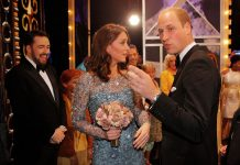 Kate and Will stayed to meet performers after the Royal Variety Show, joking and laughing with them