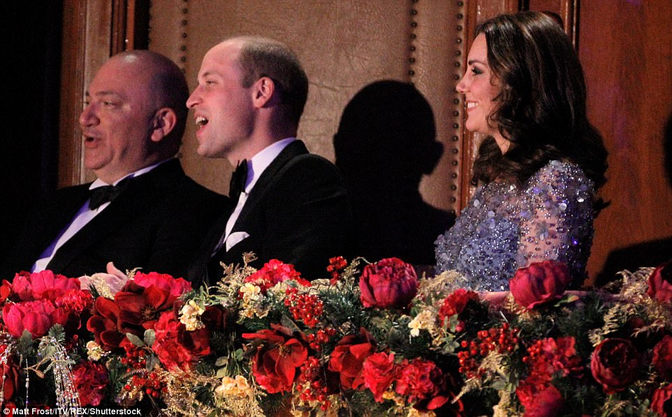 Kate beamed at the performance as her husband howled with laughter from their seat in the Royal Box aKate beamed at the performance as her husband howled with laughter from their seat in the Royal Box at the theatre the theatre