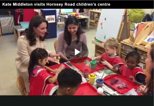 Kate had earlier met with mothers and their young children while they were at play