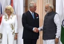 Prince Charles and his wife Camilla met Prime Minister Narendra Modi in Delhi this month; his mother Queen Elizabeth has not made any long-distance trips since 2011 Photo (C) AFP
