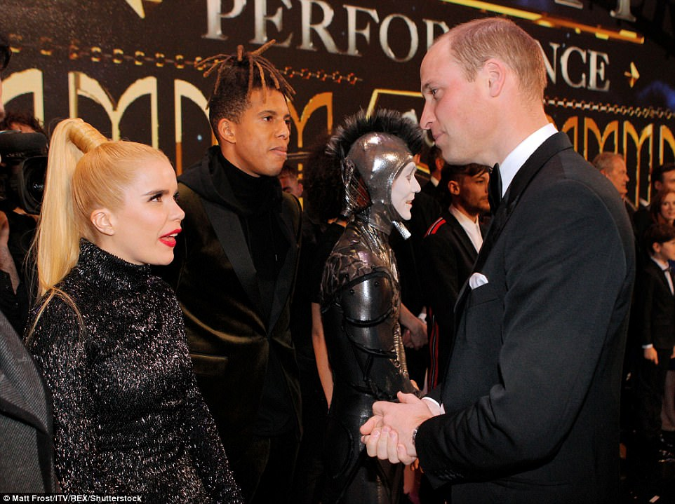 Prince William and Paloma Faith chat intently amdid many performers after the 105th Royal Variety Performance Show