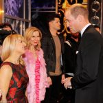 Prince William chats to actresses Sarah Hadland and Sally Phillips after the show tonight in London Palladium