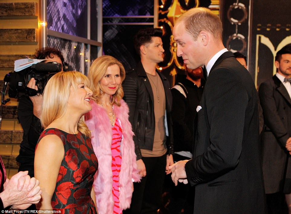 Prince William chats to actresses Sarah Hadland and Sally Phillips after the show tonight in London PaPrince William chats to actresses Sarah Hadland and Sally Phillips after the show tonight in London Palladiumlladium