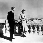 Princess Elizabeth accompanied by the Duke of Edinburgh looking over Valetta from the roof of the Villa Guardamangia Malta