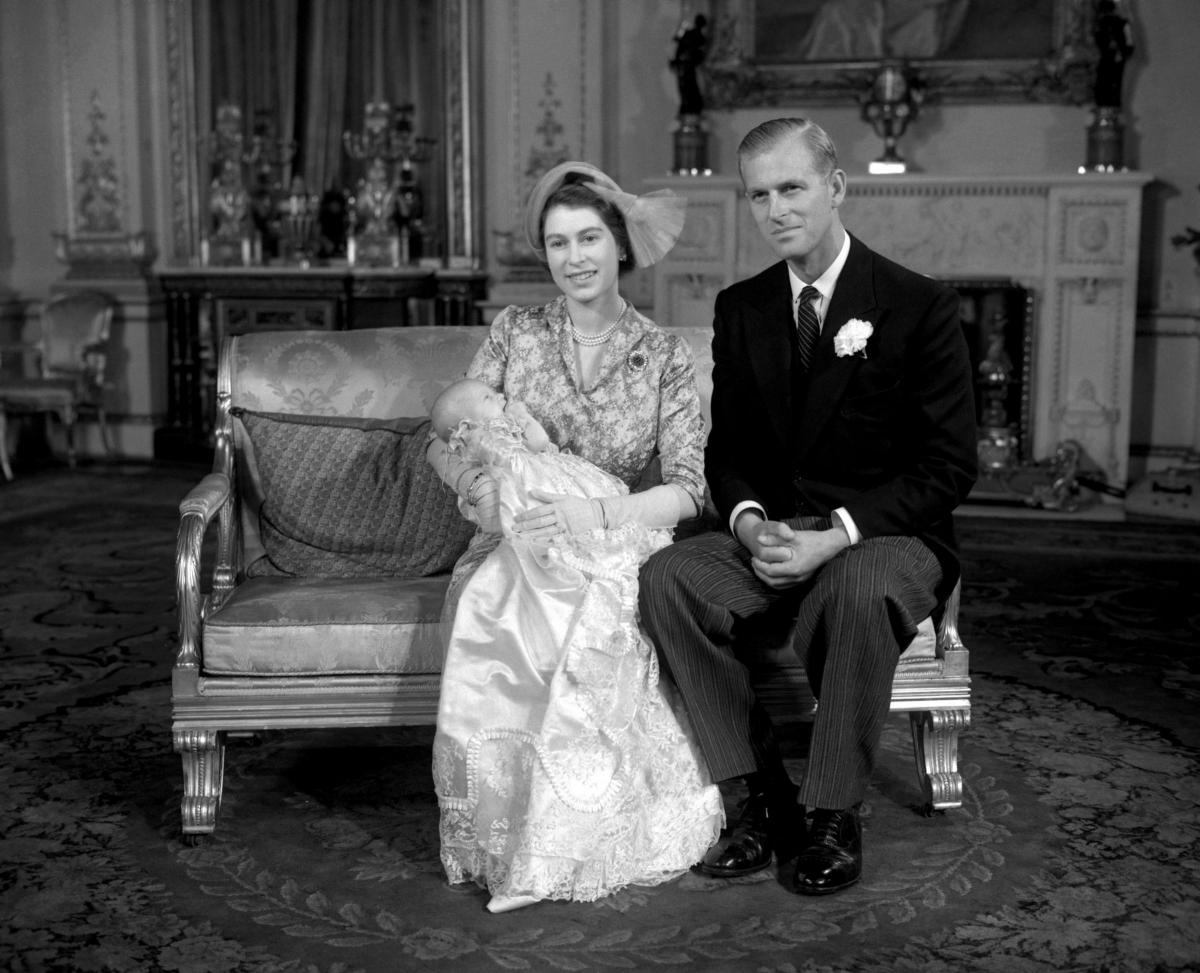 Queen Elizabeth II and the Duke of Edinburgh celebrating their Silver Wedding Anniversary in the Belgian suite in Buckingham Palace