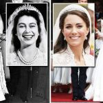 Queen Elizabeth's wedding dress value vs Kate Middleton's gown Photo C GETTY