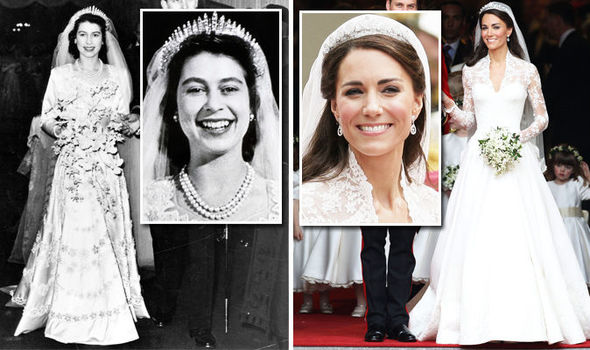 Queen Elizabeth's wedding dress value vs Kate Middleton's gown Photo (C) GETTY