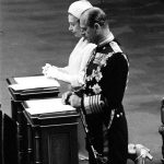 Queen Elizabeth II and the Duke of Edinburgh kneeling in St Pauls Cathedral during the special thanksgiving service to mark her Silver Jubilee