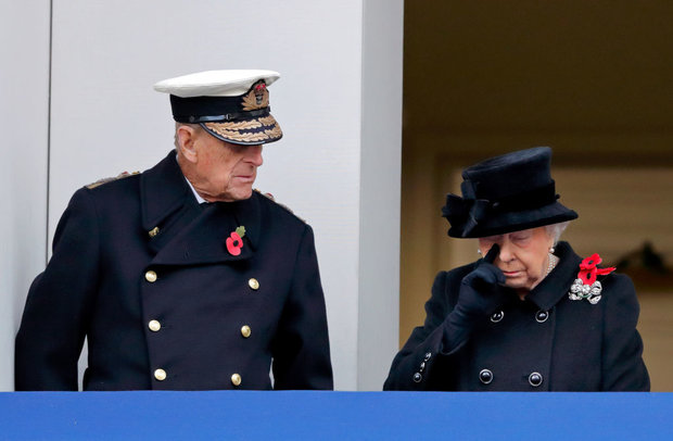 Prince Philip stands with the Queen at the Cenotaph