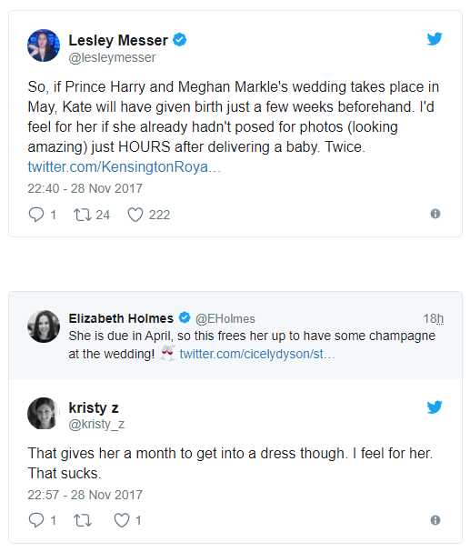So, if Prince Harry and Meghan Markle's wedding takes place in May, Kate will have given birth just a few weeks beforehand. I'd feel for her if she already hadn't posed for photos Photo (C) TWITTER