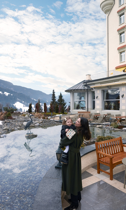 Tatiana and her daughter enjoyed a quite moment while in the Swiss Alps Photo (C) Baby Dior
