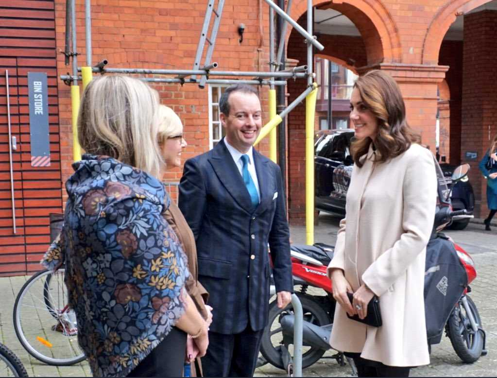 The Duchess arrives at Hornsey Road Children's Centre to see the facilities which support local parents and young children Photo (C) TWITTER KENSINGTON PALACE