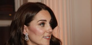 The Duchess of Cambridge accessorised with a pair of glittering teardrop earrings pictured and wore a poppy pin