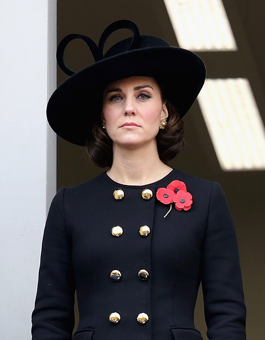 The Duchess of Cambridge attends a Remembrance Sunday service. Photo (C) GETTY