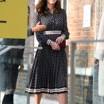 The Duchess of Cambridge displayed her neat baby bump in a Kate Spade dress as she stepped out at an art gallery in London just hours after Meghan Markle hailed her amazing