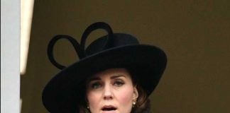 The Duchess of Cambridge watched the service from a balcony of the nearby Foreign & Commonwealth Office. Phoot (C) PRESSASSOCIATE TWITTER