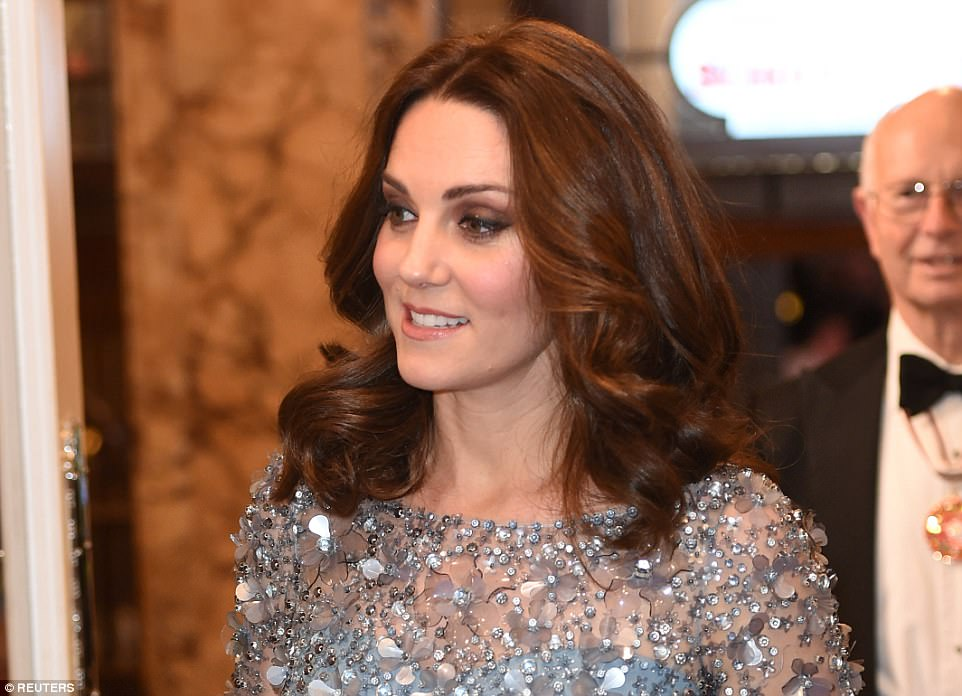 The Duchess of Cambridge, who is four months pregnant, looked radiant in her heavily embellished Jenny Packham dress
