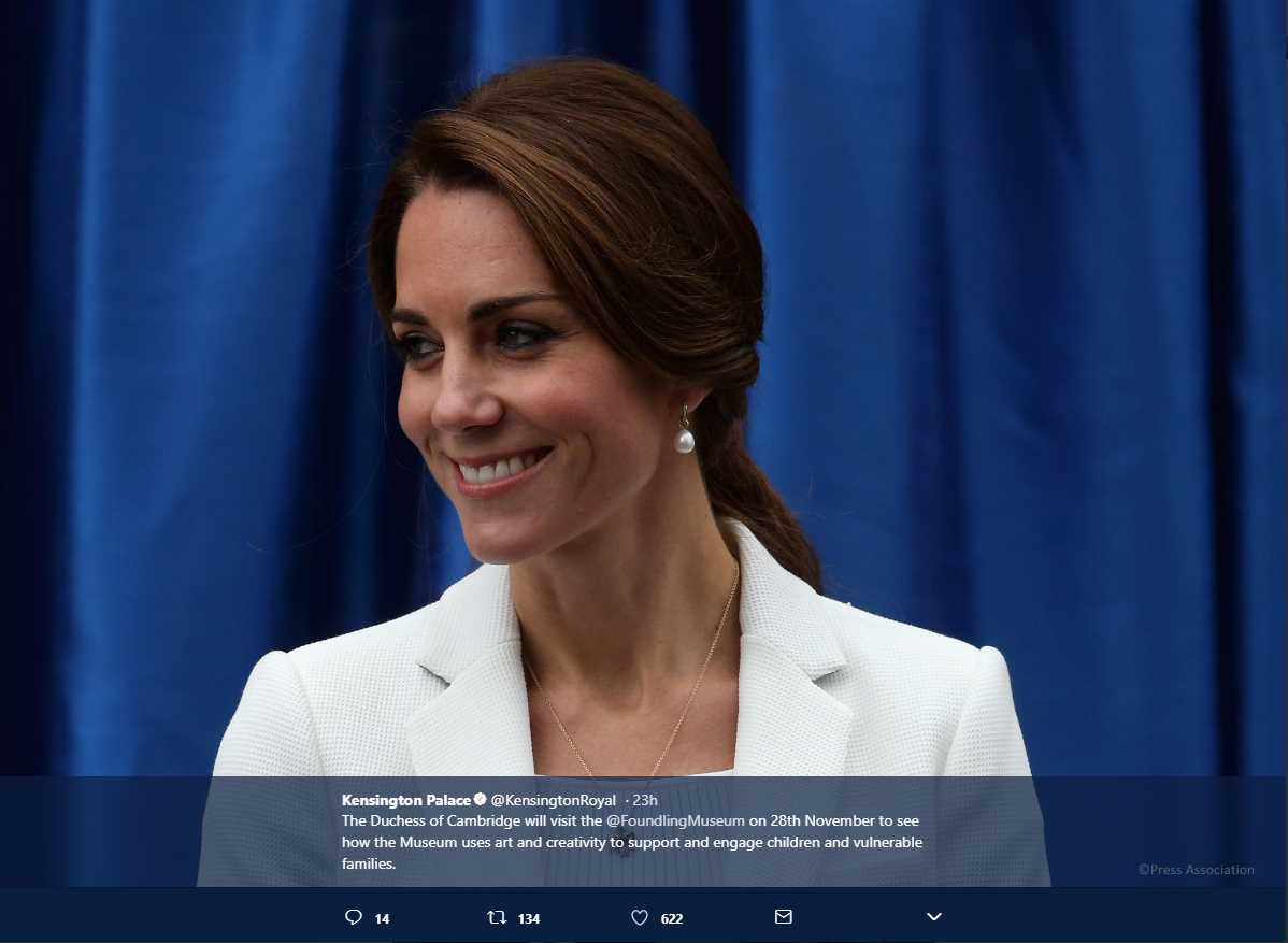 The Duke and Duchess of Cambridge will visit Birmingham on 22nd November. Photo C KENSINGTON PAALCE TWITTE