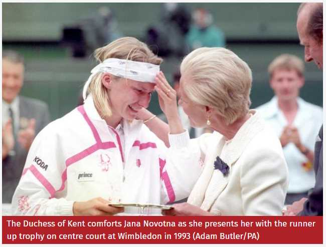 The Duchess of Kent comforts Jana Novotna as she presents her with the runner up trophy on centre court at Wimbledon in 1993 Photo (C) AP