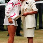 The Duchess of Kent hugs Jana Novotna after she lost to defending champion Steffi Graf Neil Munns PA