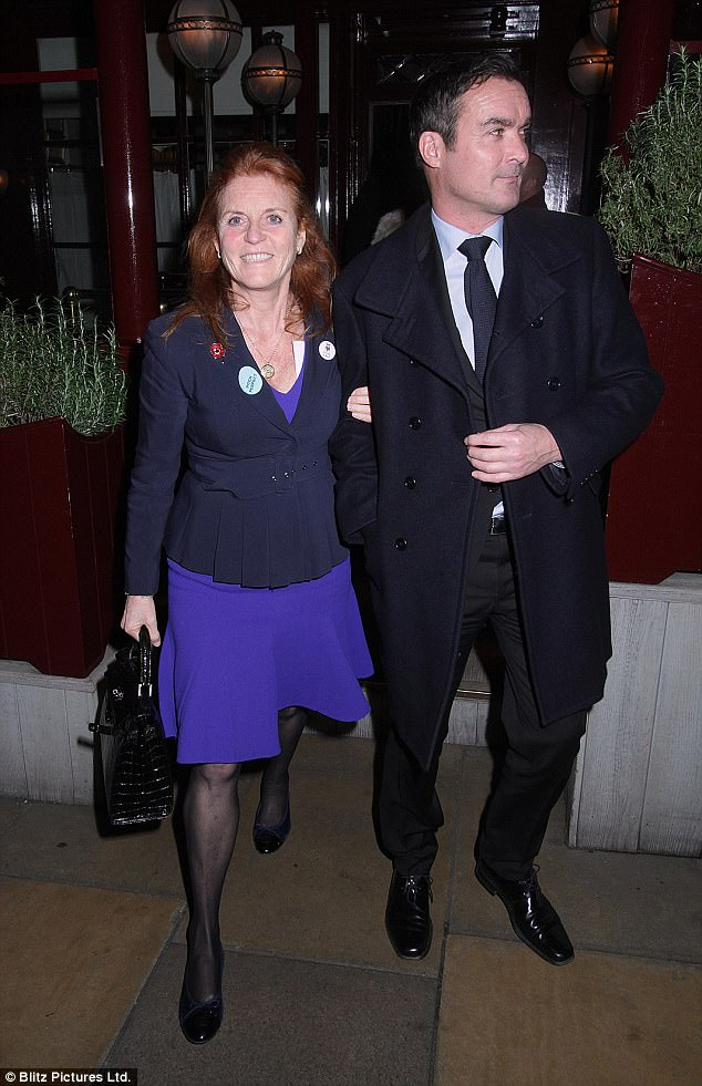 The Duchess of York looked delighted as she left Loulou's with Manuel Fernandez