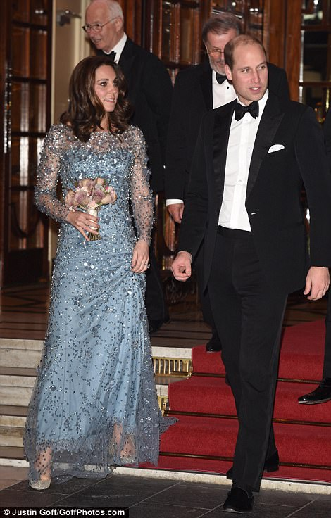The Duke and Duchess of Cambridge were pictured as they left the Royal Variety Performance show tonight