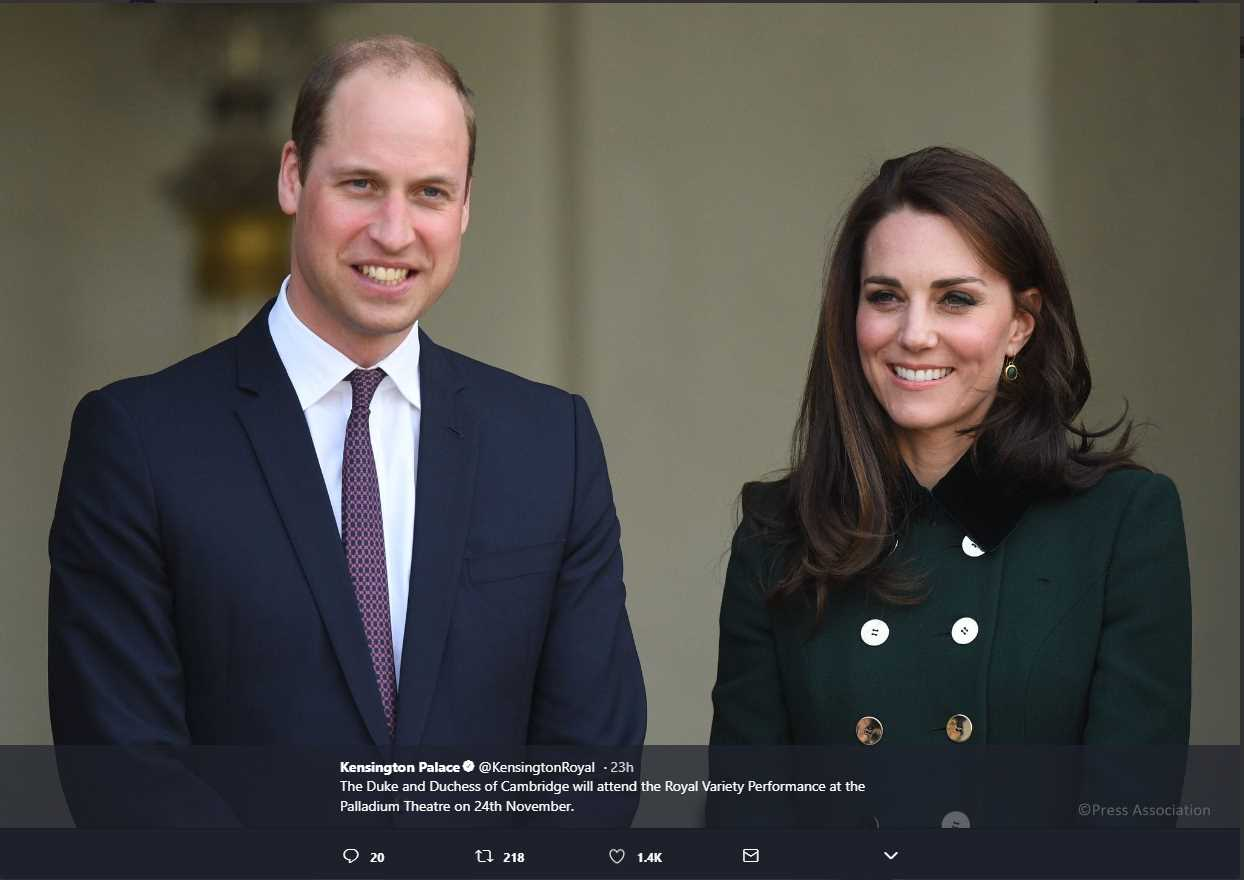 The Duke and Duchess of Cambridge will visit Birmingham on 22nd November. Photo (C) KENSINGTON PAALCE TWITTER