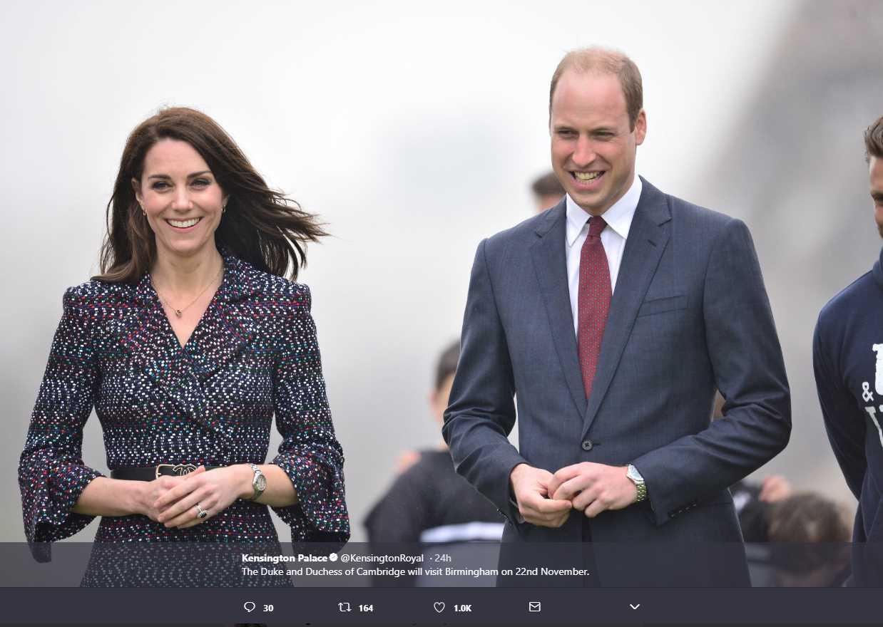 The Duke and Duchess of Cambridge will visit Birmingham on 22nd November. Photo C KENSINGTON PAALCE TWITTE