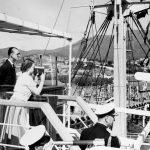 The Duke of Edinburgh watches Queen Elizabeth II as she films the scene at Prince's Pier in Hobart, Tasmania Photo (C) GETTY
