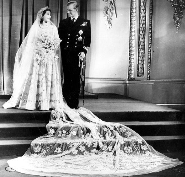 Queen Elizabeth's wedding dress value vs Kate Middleton's gown Photo C GETTY