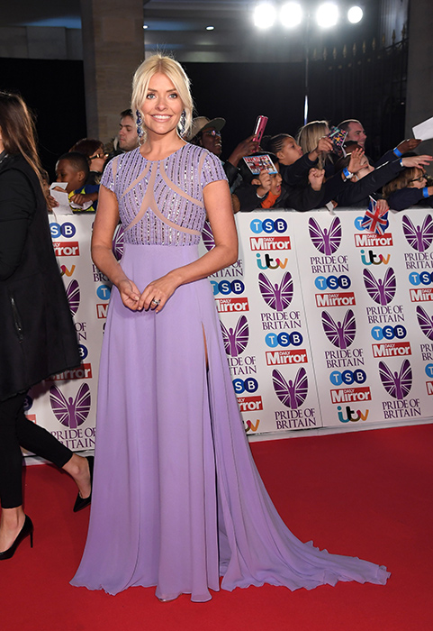 The TV star looked stunning in a lilac gown Photo (C) GETTY