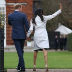 The couple pictured waving to crowds will appear together on national TV in the UK for the first time this evening to discuss their engagement and whirlwind relationship of 16 months