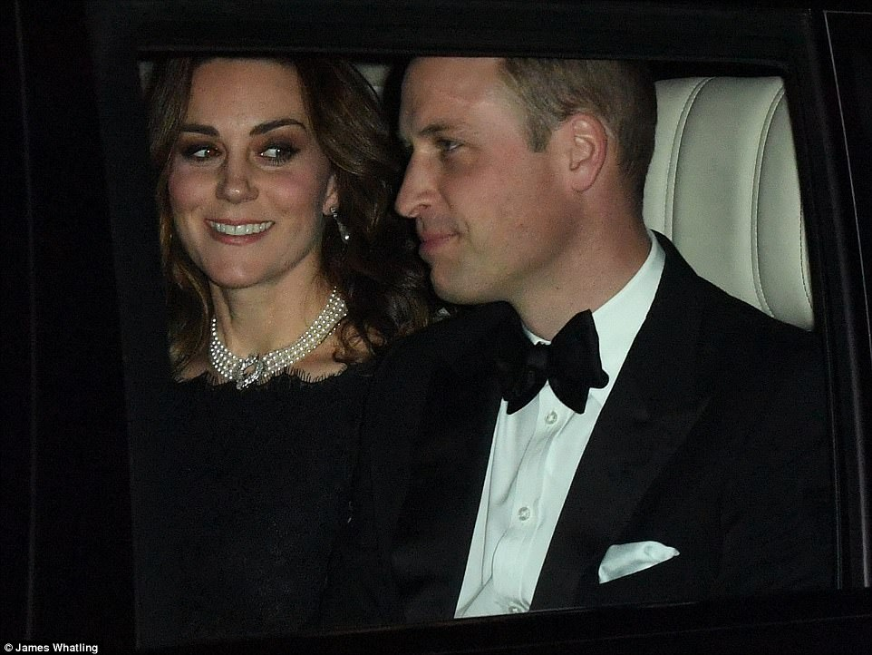 The royals, who were dressed in black tie, are heading for a special dinner at the castle to mark the monarch's milestone anniversary