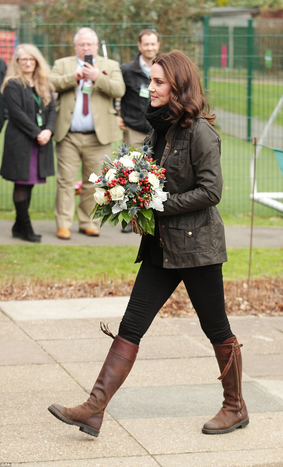Thrifty Kate was sporting the same pair of £475 dark mid-length Penelope Chilvers boots that she wore when she first dated William back in 2003