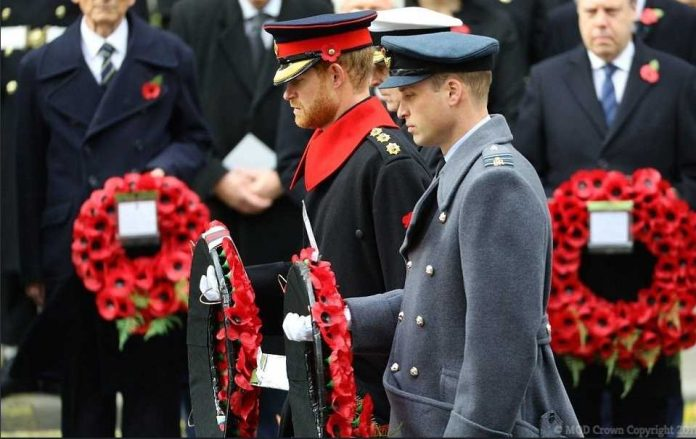 Today The Duke of Cambridge and Prince Harry both laid a wreath in The Remembrance Sunday service at the Cenotaph Photo (C) TWITTER