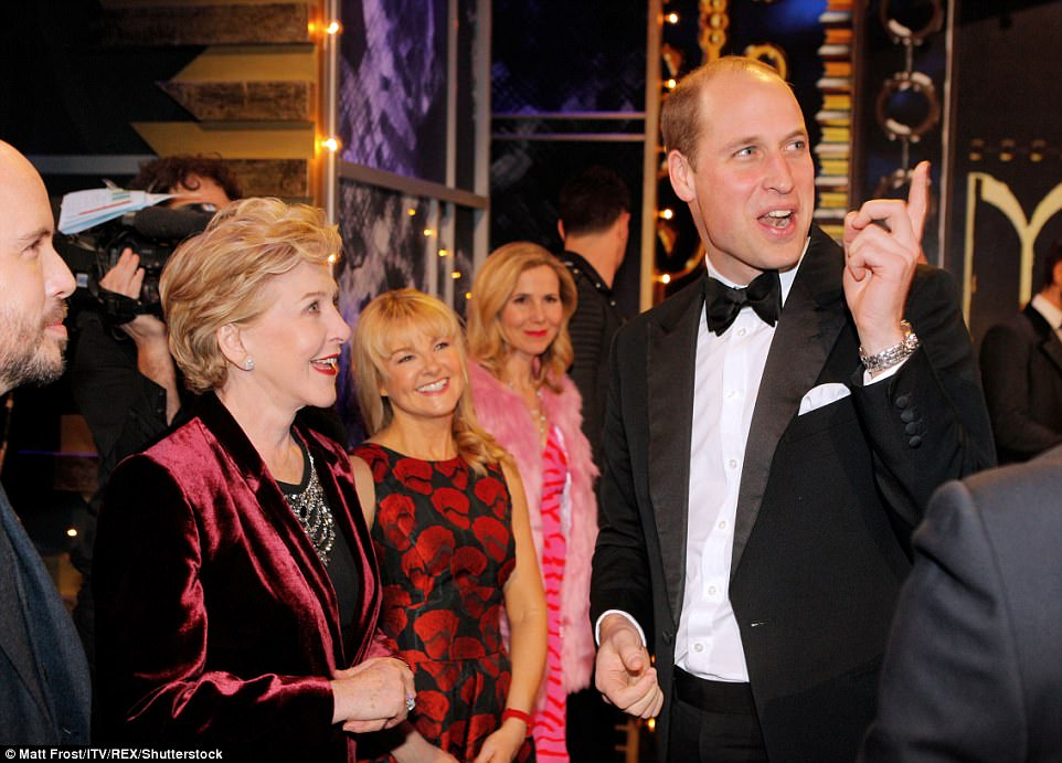 Will entertained the entertainers after the show as the royal couple stayed to meet the performers tonight
