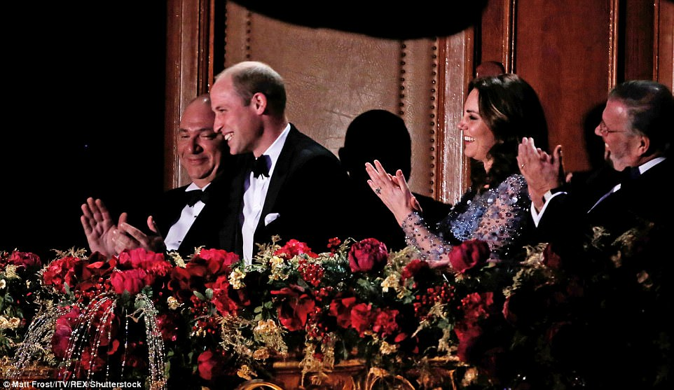 Will gamely takes part in a comedy sketch, led by the show's host Miranda Hart while Kate giggled next to him while the couple sat under the spotlight in the royal box