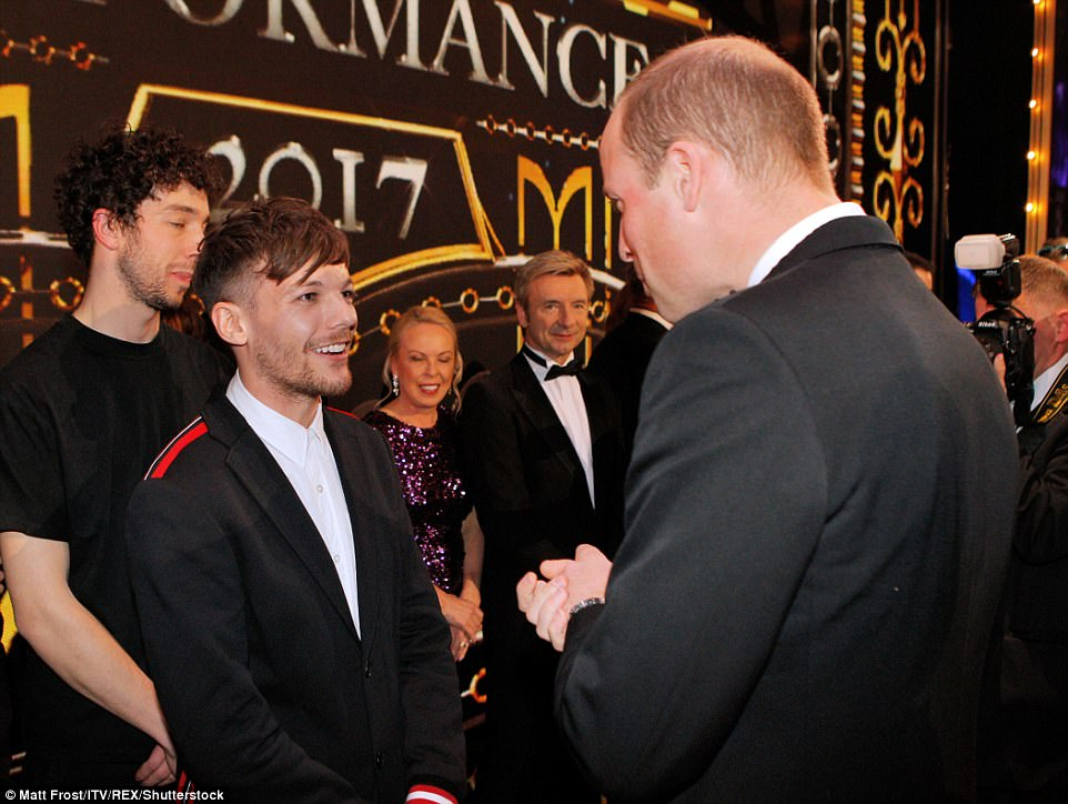 Will greeted ex-One Direction member Louis Tomlinson who performed at the Royal Variety Show tonight
