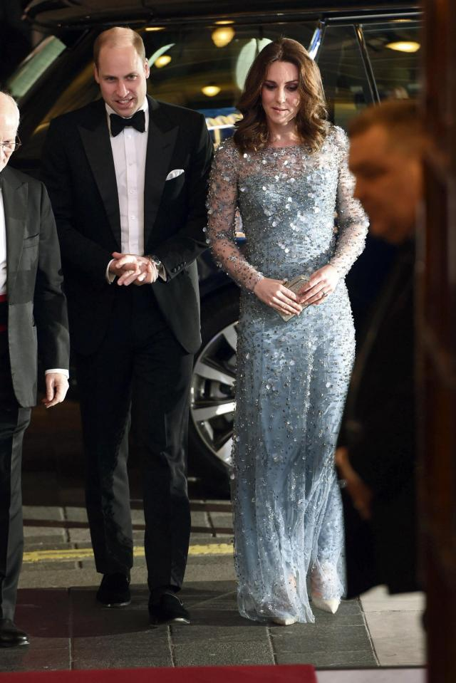 William and Kate arrive at the Royal Variety Performa(AP)