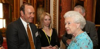Queen Elizabeth II meets with Dame Helen Mirren and others at a reception to celebrate young people in the arts held at Buckingham Palace Photo (C) GETTY