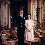 1947 A then Princess Elizabeth stands with Prince Philip at Buckingham Palace in a very stiff pose