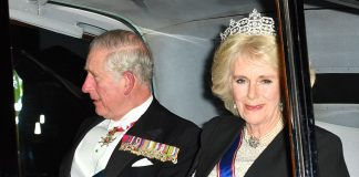 2 The Duchess of Cornwall was joined by Prince Charles who too was dressed in all of his finery including several ceremonial medals for the reception