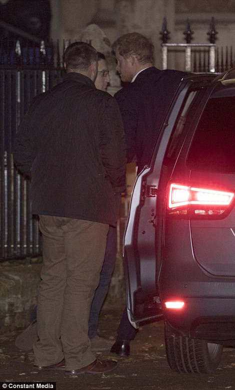 attending is her newly-engaged ex-boyfriend Prince Harry who arrived discreetly at St Luke's church in Chelsea