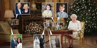 A framed photograph of the bride to be with her beau Prince Harry was displayed with other family pictures as the monarch spoke