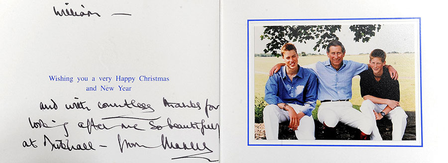 A photograph of a Christmas card from The Prince of Wales, which was sent to William Tallon. The card will form a part of William Tallon's collection that goes up for auction at Reeman Dansie Auctions in Colchester Essex. Photo: © Getty Images