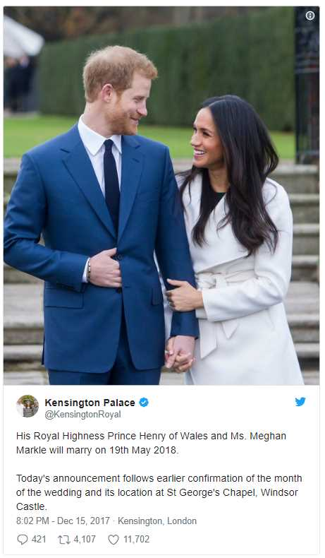 BREAKING NEWS Kensington Palace just revealed the exact date for Meghan and Harry's wedding