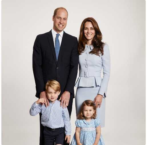 The picture used on the Duke and Duchess of Cambridge's 2017 Christmas card which was taken by Getty Images royal photographer Chris Jackson at Kensington Palace showing the royal couple with their children Prince George and Princess Charlotte. Photo: © PA